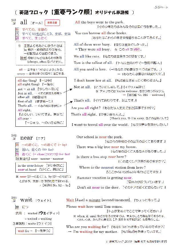 英語ブロック オリジナル英単語帳 No.201~300